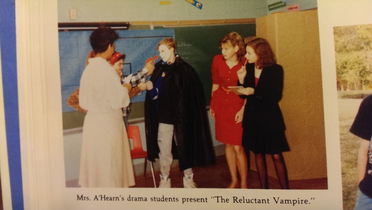pointing a toy gun at someone's head. and this made it into the yearbook! so imagine how much this happened without cameras around!